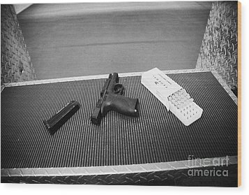 Smith And Wesson 9mm Handgun With Ammunition At A Gun Range In Florida Usa Wood Print by Joe Fox