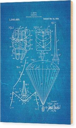 Smith Parachute Patent Art 1920 Blueprint Wood Print by Ian Monk