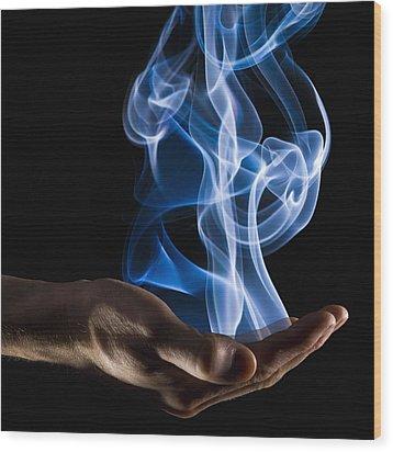 Smoke Wisps From A Hand Wood Print by Corey Hochachka