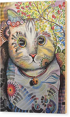 Smokey ... Abstract Cat Art Wood Print by Amy Giacomelli