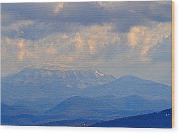 Smokey Blue Morning Wood Print by Peter  McIntosh