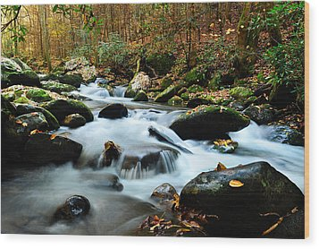 Smokey Mountain Creek Wood Print