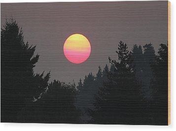 Wood Print featuring the photograph Smokey Sunrise by E Faithe Lester