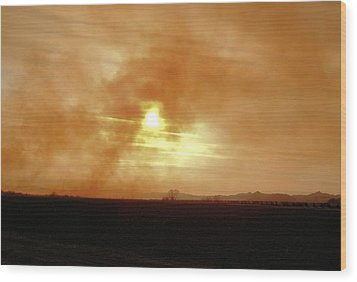 Wood Print featuring the digital art Smokey Sunset by Aliceann Carlton
