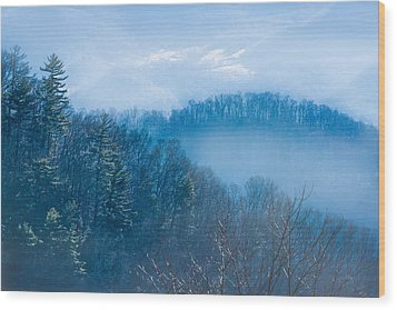 Smokies In Blue Wood Print by Maria Robinson