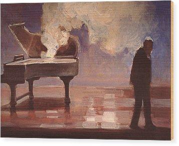 Smokin Piano Wood Print by Emily Gibson
