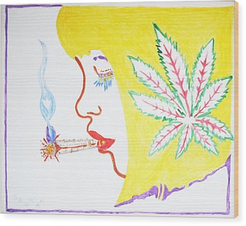 Smoking Blonde Wood Print by Stormm Bradshaw