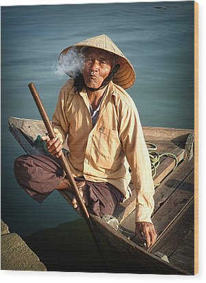 Wood Print featuring the photograph Smoking Boat-man by Kim Andelkovic