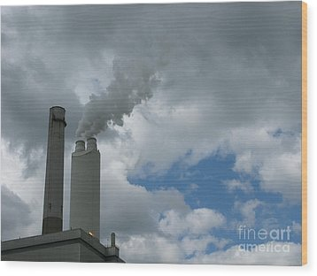 Smoking Stack Wood Print by Ann Horn