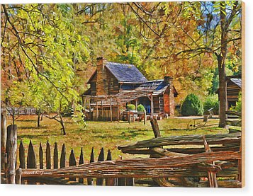 Smoky Mountain Homestead Wood Print by Kenny Francis