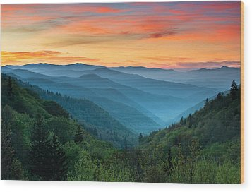 Smoky Mountains Sunrise - Great Smoky Mountains National Park Wood Print