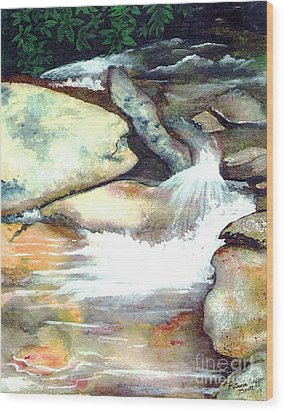 Smoky Mountains Waterfall Wood Print by Patricia Griffin Brett