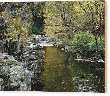 Smoky Mountian River Wood Print by Sandy Keeton