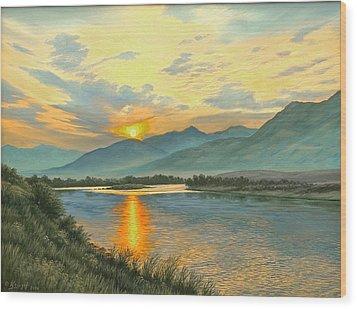 Smoky Sunrise-yellowstone River   Wood Print by Paul Krapf