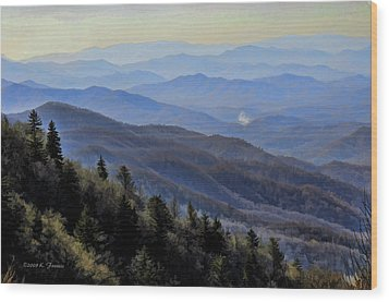 Smoky Vista Wood Print by Kenny Francis