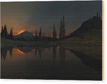 Smoldering Rainier Wood Print by Mike Reid