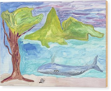 Wood Print featuring the painting Snail And Whale by Helen Holden-Gladsky