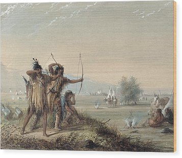 Snake Indians Testing Bows Wood Print by Alfred Jacob Miller