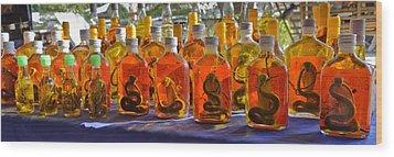 Snake Whiskey Wood Print