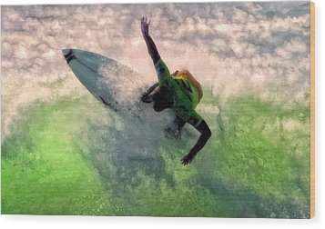 Wood Print featuring the painting Snap Turn by Michael Pickett