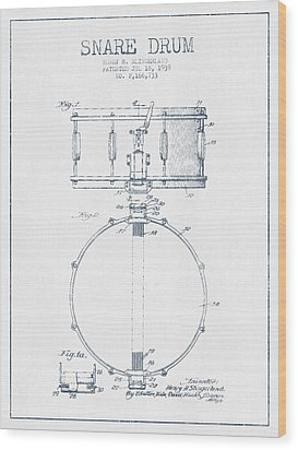 Snare Drum Patent Drawing From 1939 - Blue Ink Wood Print by Aged Pixel