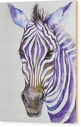 Snazzy_ Purple Stripes Wood Print