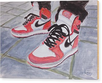 Sneakers Wood Print by Stan Tenney