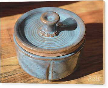 Snickerhaus Pottery-vessel With Lid Wood Print by Christine Belt