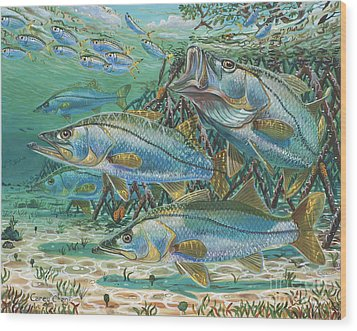 Snook Attack In0014 Wood Print by Carey Chen