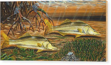 Snook In The Mangroves Wood Print by Steve Ozment