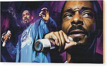 Snoop Dogg Artwork Wood Print by Sheraz A