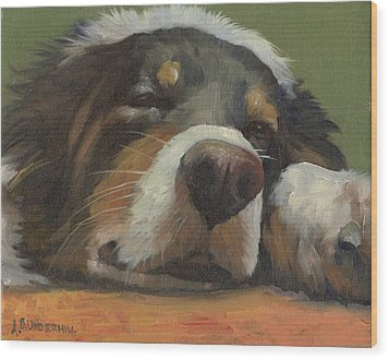 Wood Print featuring the painting Snoozing by Alecia Underhill