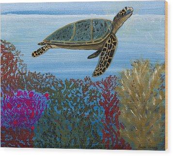 Snorkeling Maui Turtle Wood Print