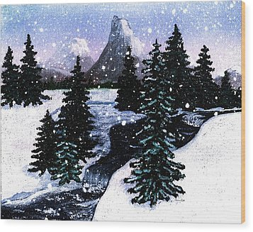 Snow And A Cold Mountain Brook Painterly  Wood Print by Barbara Griffin
