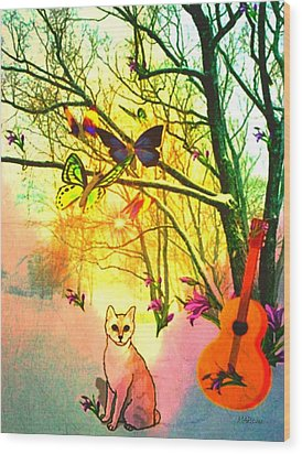 Snow And Butterfly Dreams Wood Print by Mary Anne Ritchie