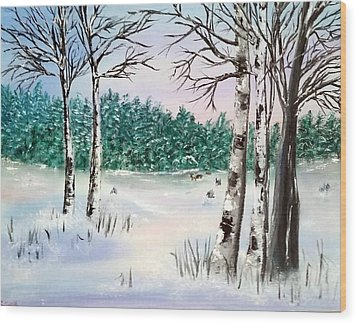 Snow And Trees Wood Print