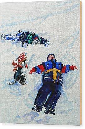 Snow Angels Wood Print by Hanne Lore Koehler