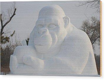 Snow Ape Wood Print by Brett Geyer