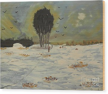 Wood Print featuring the painting Snow At Christmas by Pamela  Meredith