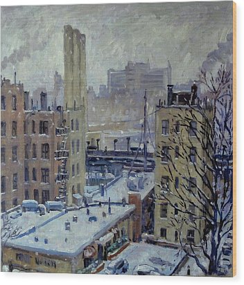 Snow At Dusk New York City Wood Print by Thor Wickstrom