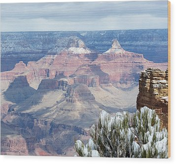 Snow At The Grand Canyon Wood Print by Laurel Powell