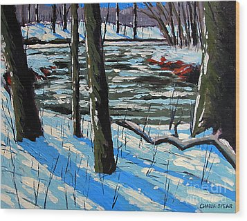 Snow Back On The Eel Wood Print by Charlie Spear