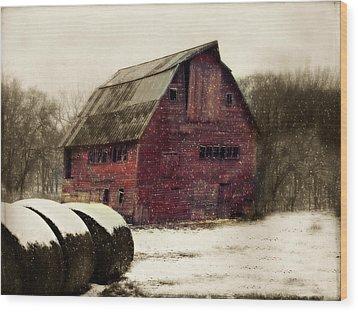 Snow Bales Wood Print by Julie Hamilton