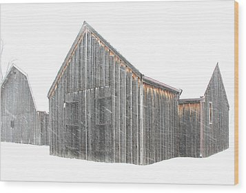 Wood Print featuring the photograph Snow Barns by Christopher McKenzie