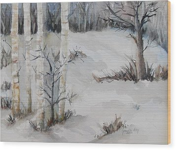Snow Birches Wood Print