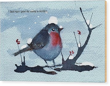 Wood Print featuring the painting Snow Bird From Needles by Anne Duke