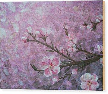 Snow Blossom Wood Print by Arlissa Vaughn