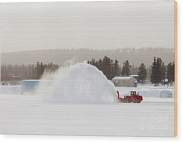 Snow Blower Clearing Road In Winter Storm Blizzard Wood Print by Stephan Pietzko