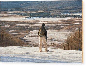 Snow Boarder Planning His Run Wood Print by Dan Friend