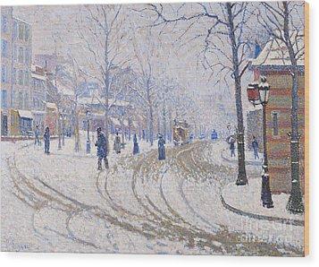 Snow  Boulevard De Clichy  Paris Wood Print by Paul Signac